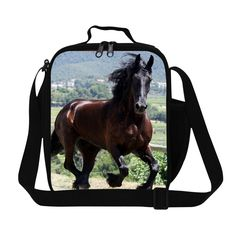 Crossbody Lunch Bag for Boy Horse Printed Insulated Food bag Lunch cooler bag for kids skull lunch container adult lunch box bag
