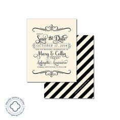Script Save the Date, Script Bridal Shower Invitation  |  Ivory and Black, Purple, Green, Eggplant, Moss  |  InklingDesignStudio, $25.00