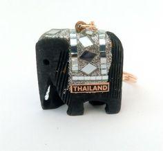 BIG size Handmade THAILAND wooden ELEPHANT KEY-RING sparkly white Thai Elephant, Wooden Elephant, Key Rings, Elephants, Thailand, Shelf, Big, Handmade, Key Holders