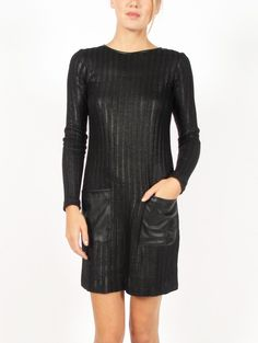 """10 Crosby by @Derek Lam Faux Leather Black Dress, $375---I LOVE """"The Little Black Dress Look"""" and This Dress Is Just Perfection Laced With Leather...Wow...What An Indulgence!!"""