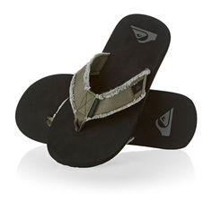 f55bb6c31b9 Quiksilver Monkey Abyss Flip Flops - Green Black Brown Flip Flop Shoes