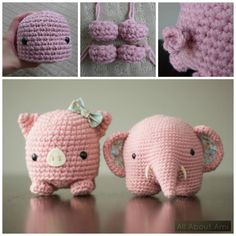 Crochet Pig and Elephant Free Crochet Pattern Crochet Mignon, Crochet Pig, Crochet Elephant, Crochet Home, Cute Crochet, Crochet Crafts, Crochet Dolls, Yarn Crafts, Crochet Animals
