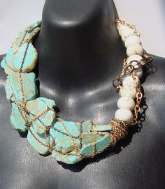 Ashlee Collection, Thoe, Turquoise Slabs and Chain Necklace