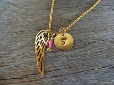 Gold ANGEL WING initial disc birthstone necklace. by SoCoolCharms Protection Necklace, Gold Angel Wings, Birthstone Necklace, Minimalist Jewelry, Mother Gifts, Valentine Day Gifts, Birthstones, Initials, Charms