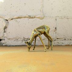 Vintage Brass Deer, Gold Statuette Figurine Statue Grazing Doe, Mid Century Style Home Decor by viAnneli on Etsy