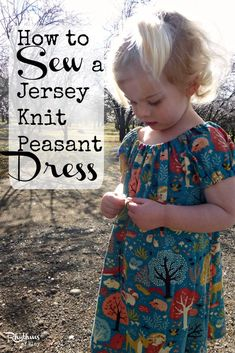 How to sew a jersey knit peasant dress.