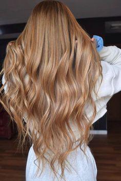 Caramel Blonde Hair Dye, Dark Strawberry Blonde Hair, Cream Blonde Hair, Copper Blonde Hair, Honey Blonde Hair Color, Heatless Hairstyles, Heatless Curls, Hair Color Streaks, Hair Color Shades