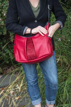 Leather Women's Hobo Handbag Wild Rose in Red. http://www.oberondesign.com/collections/handbags/products/leather-handbag-hobo-wild-rose
