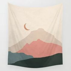 Mid Century Modern Minimal Mountain Landscape Wall Tapestry Tapestry Bedroom, Tapestry Wall Hanging, Wall Decor, Wall Art, Mountain Landscape, Mid-century Modern, Minimalism, Mid Century, Tapestries