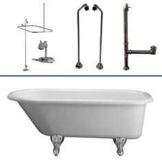5 ft. Acrylic Roll Top Bathtub Kit in White with Polished Chrome Accessories-TKADTR60-WCP6 at The Home Depot