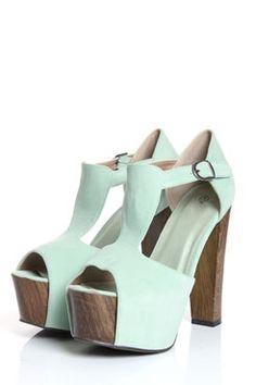 Cute mint chunky heel