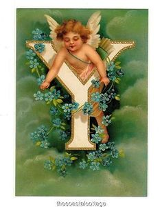 """DoubleQuicktime - """"Y"""" Alphabet Postcard Clapsaddle Reproduction Victorian Floral Cherub for USD5.25 (Earn USD0.00 as referral,Learn How Here)"""