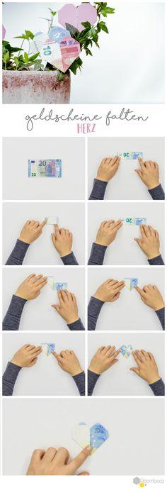 #Geldscheine #falten #Herz Schöne Geldgeschenke selber basteln ist ganz einfach - Auf ROOMBEEZ findet Ihr Schritt-für-Schritt Anleitungen und Videos ➯