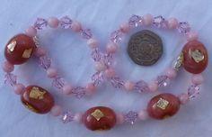 Art Deco Venetian/Czech  Pink Gold Foil Satin Glass Bead Necklace  | eBay