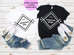 Engagement Gift Ideas, Honeymoon Tshirts, Couples Tshirts, Matching Shirts for Couples, Couple Outfit, Forever His, Forever Hers