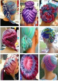 Braids fantasy pastel unicorn mermaid pink lavender green neon blue gray reddish magenta cyan turquoise hair color. by ebony