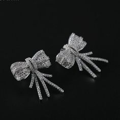 Trade Luxury Austrian Crystal Gold Triangle Bow Earrings For Women Sterling-silver-jewelry Elegant Stud Earrings Christmas Gift
