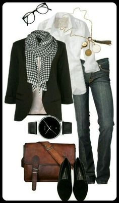 Jeans / Chemise / Blaser / Echarpe