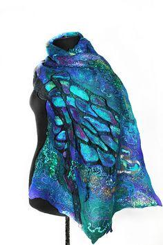 Nuno Felted Textured Scarf Wrap by Marina Shkolnik | Superfine Australian merino wool, Mulberry silk, Cotton gauze fabric, Silk yarn, Viscose yarn, Sheep locks