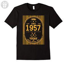 Mens 60th Yearsold Birthday Vintage since 1957 Ideas remix Small Black - Birthday shirts (*Amazon Partner-Link)