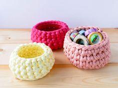 Corbeille en crochet jaune von Tangerinette auf DaWanda.com