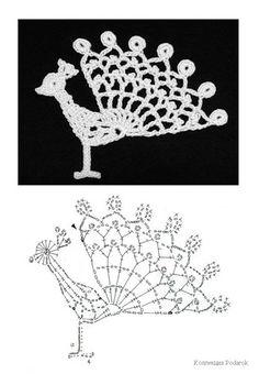 Peacock; this and lots more patterns see also: http://crochet-plaisir.over-blog.com/article-animaux-decoratifs-et-leurs-grilles-gratuites-au-crochet-103102429.html