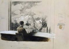 Michael Borremans - 'The (Courmajeur) Conducinator' 2002 16,7 x 24,1 cm pencil, watercolor and white ink on cardboard