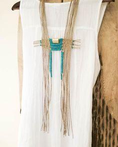 Long boho turquoise and gold necklace, statement woven hemp tapestry, beaded tribal artisan jewelry, hemp chest neckpiece, anniversary gift - Long boho turquoise and gold necklace statement woven hemp Macrame Colar, Macrame Necklace, Macrame Jewelry, Bohemian Jewelry, Macrame Rings, Hemp Jewelry, Textile Jewelry, Fabric Jewelry, Textiles