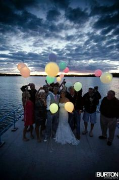 Wedding glowing light up helium balloon send off. Neat alternative to chinese lanterns if worried about starting fires.