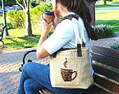 Cocoa Burlap Handbag with Coffee Cup Button Design & Chocolate Candy Lining