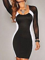 Noir Blanc Roue Mesh Mini robe moulante à manches... – CAD $ 13.59