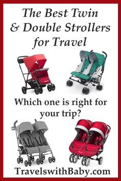 The best twin strollers and double strollers for travel with babies and toddlers. See pros and cons for each lightweight stroller to help decide which is right for your family vacation. Best Twin Strollers, Best Travel Stroller, Best Double Stroller, Double Strollers, Baby Strollers, Toddler Travel, Travel With Kids, Family Travel, Baby Travel