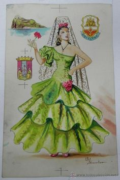 Dancer Drawing, Painting & Drawing, Like A Rhinestone Cowboy, Spanish Costume, Spanish Art, Flamenco Dancers, Pattern Illustration, Craft Patterns, Vintage Cards
