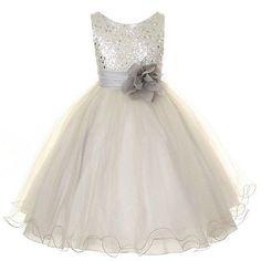 Bridesmaid Wedding Party Pageant Flower Girl Dress Sequin Glitter Silver Grey | eBay
