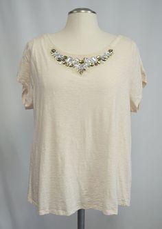 SOLD - Lane Bryant Ivory Cotton Split Back Tee T-Shirt Top w/Rhinestones Beige 18/20 #LaneBryant #SplitOpenBackTee #Casual