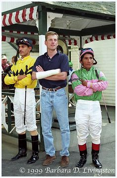 John Velazquez, Richard Migliore, and Jorge Chavez at Saratoga in 1999  (by Barbara Livingston)