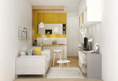 Small Living Room Design Ideas Apartment Therapy - home design Small Apartment Design, Studio Apartment Decorating, Small Room Design, Small Apartments, Small Spaces, Studio Apartments, Apartment Ideas, Colorful Apartment, Home Staging