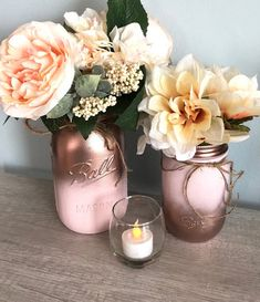 Rose Gold Bridal Shower Centerpieces, Blush Pink Mason Jars, Sweet 16 Table Decor, Pink and Gold Party Decor, Blush Pink Bathroom Gold Bridal Showers, Gold Baby Showers, Bridal Shower Rustic, Bridal Shower Gifts, Gold Wedding Centerpieces, Bridal Shower Centerpieces, Mason Jar Centerpieces, Decorations For Bridal Shower, Baptism Table Decorations
