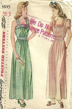 Vintage 40s Sewing Pattern Simplicity 4845 Gown by studioGpatterns, $14.50