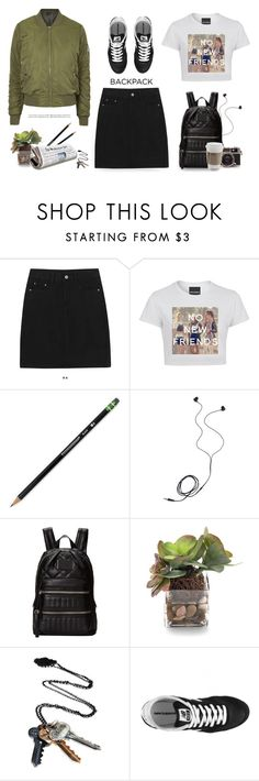"""""""Back to school- backpack"""" by yexyka ❤ liked on Polyvore featuring Dixon Ticonderoga, Diane Von Furstenberg, Marc by Marc Jacobs, John-Richard, Cullen, Stolen Girlfriends Club, New Balance, Topshop, women's clothing and women"""
