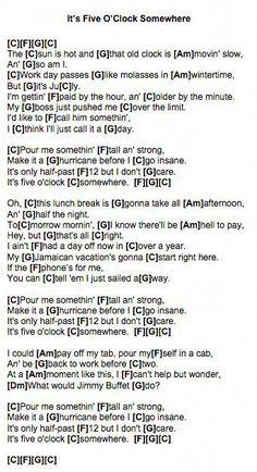 It's Five O'Clock Somewhere (Alan Jackson) Ukulele Chords #ukelessons Guitar Chords And Lyrics, Easy Guitar Songs, Ukulele Songs, Music Songs, Song Lyrics, Ukulele Tabs, Music Stuff, Free Guitar Lessons, Music Lessons