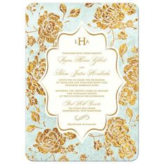 Mint green and gold floral and vintage silhouette frame monogram wedding invitation. Comes in other colours as well.   #weddings #invitations #weddinginvitations
