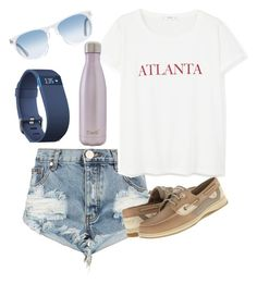 """""""Atlanta"""" by melw44 ❤ liked on Polyvore featuring One Teaspoon, MANGO, Sperry, Fitbit, Oliver Peoples and S'well"""