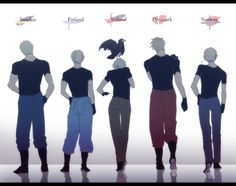 The Nordics (Sweden, Finland, Iceland, Denmark, and Norway) - Hetalia: Axis Powers <<<LOOK AT THOSE NICE HIPS
