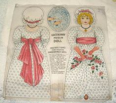 RARE Original 1907 Antique Kate Greenaway Muslin Cloth Doll Panel