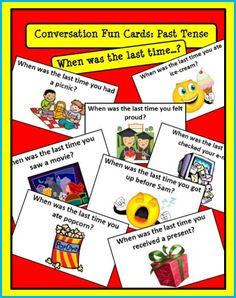 Conversation Fun Cards ESL: When was the last time...? Simple Past Tense