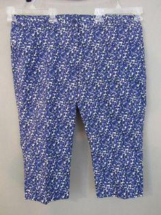 976a671f4f5d6 Talbots Shorts Petite Plus Size 18WP. Signature Cotton Floral Blue Bermuda.  Length at inseam