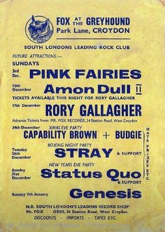 PINK FAIRIES & AMON DUUL II in 1972!! FOX at The GREYHOUND, Croydon. Other gigs that week!! Stray. Budgie. Status Quo. Rory Gallagher.