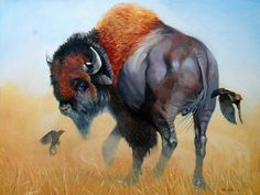 """""""Turning on a Dime"""" - Contemporary 30x 40"""" (36x46 with frame) oil painting of a buffalo by Les LeFevre. Jackson Hole art gallery.  #buffalo"""