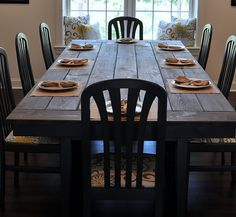 Farm house table. One side needs a bench rather than chairs.